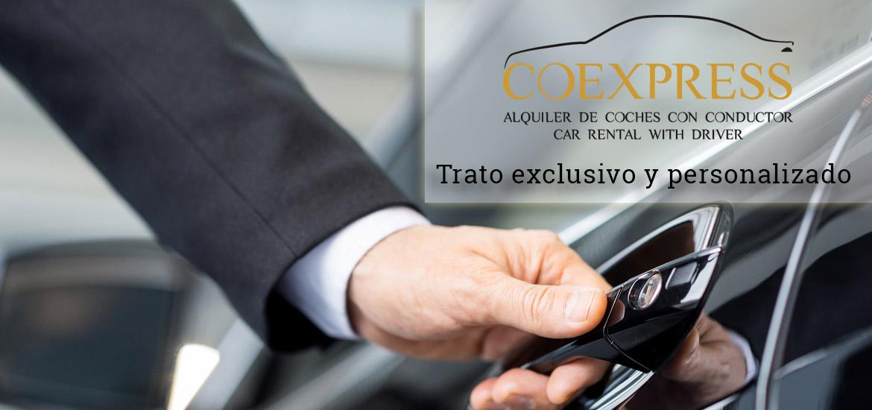 Alquiler de coches con conductor, trato exclusivo y personalizado, Coexpress.